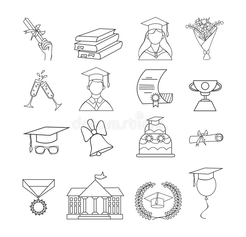 Set of icons for graduation. Linear graduation elements for invitations, posters, greeting cards etc. Graduation icon vector set royalty free illustration