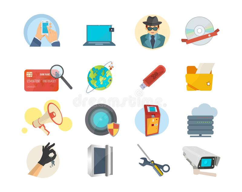 Set of icons hacker attack, internet security, protection, information technology. vector illustration