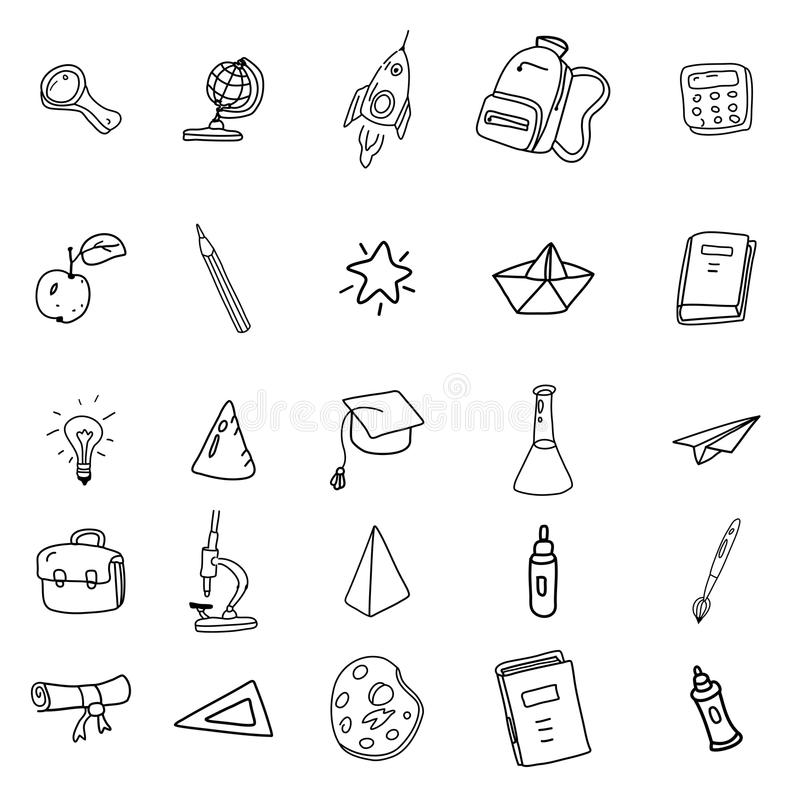 Set icons hand drawing line doodle school items . Back to School. Vector illustration. Isolated royalty free illustration