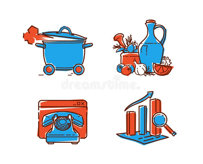 A set of icons on healthy food. Vector icons in a flat style. Decorative elements for the site and printing. Icons about Eco food royalty free illustration