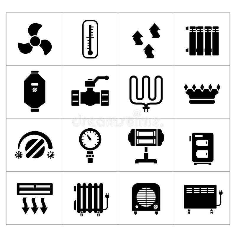 Set icons of heating vector illustration