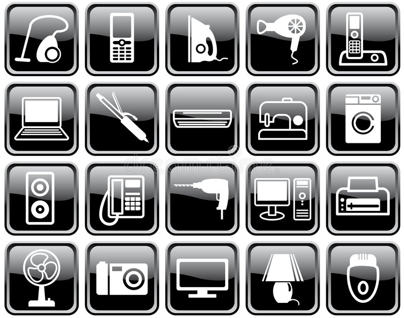 Set Of Icons Of Home Appliances Stock Photography