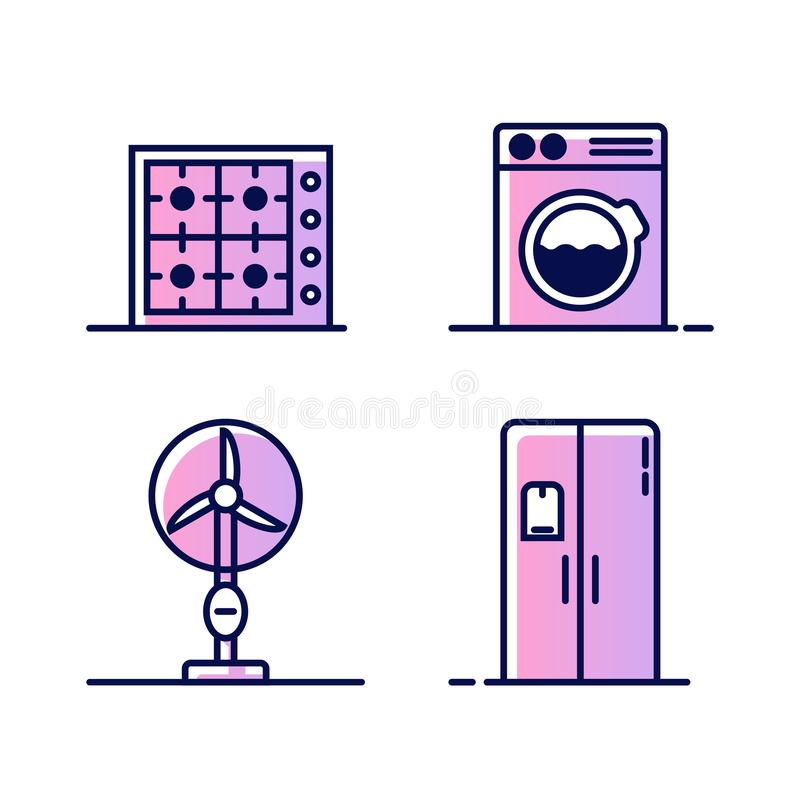 Set of icons with home appliances. Gas or electric stove, washing machine, fan and refrigerator or freezer. Icons for stock illustration