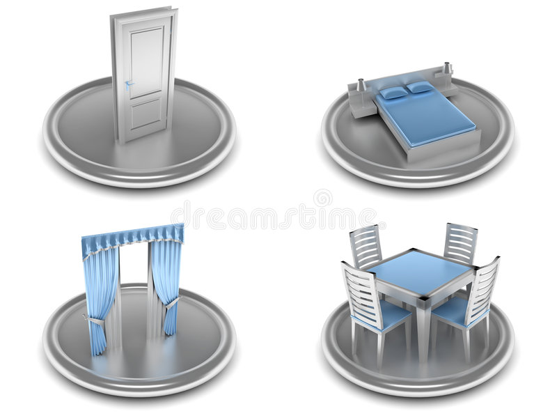 Set Of Icons On An Home Theme Stock Image