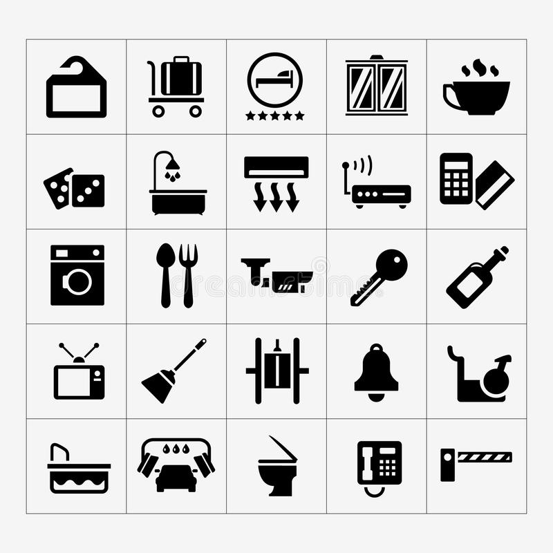 Set icons of hotel, hostel and rent apartments. Isolated on white royalty free illustration