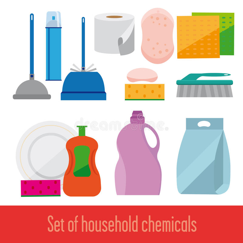 Set icons. Household chemicals. Image objects for cleaning. Detergents, dishwashing and sanitary ware. Performed flat. White background vector illustration