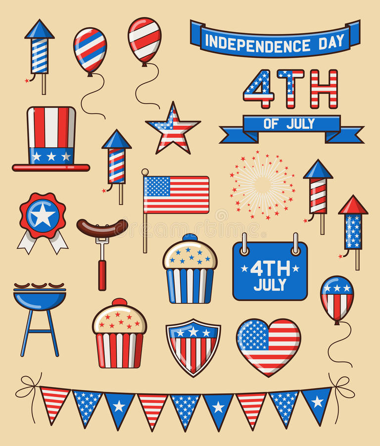 Set of Icons for Independence Day. Set of design elements for american independence day, forth of july. EPS 10 contains transparency stock illustration