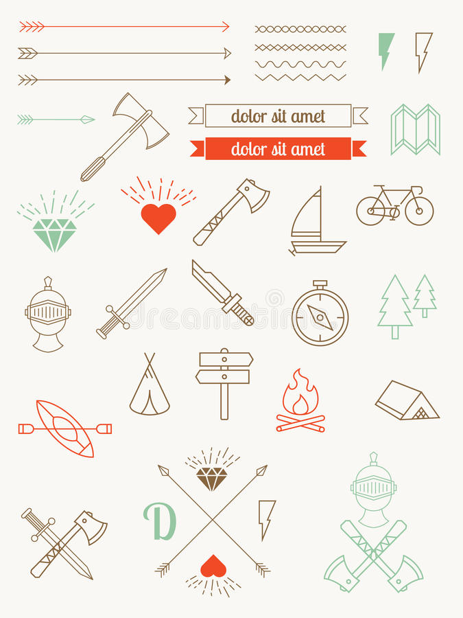 Set of icons, items, badges hipster style. Vintage Bundle stock illustration