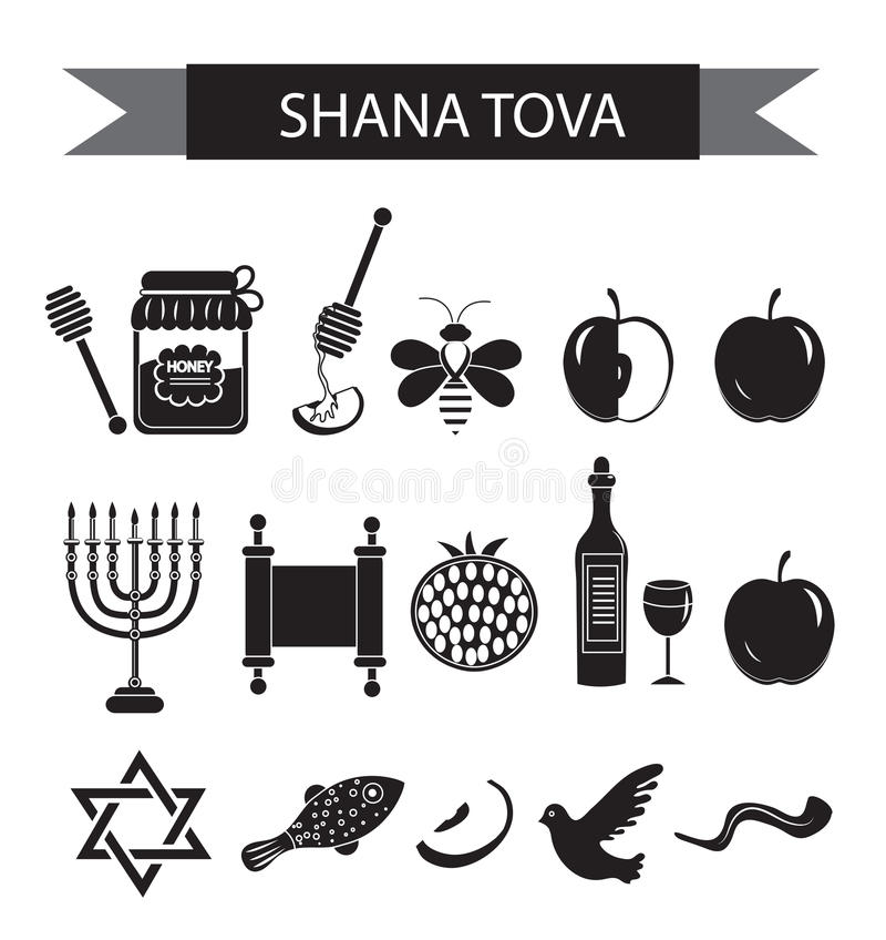 Set icons on the Jewish new year, black silhouette icon, Rosh Hashanah, Shana Tova. Cartoon icons flat style. Traditional symbols vector illustration