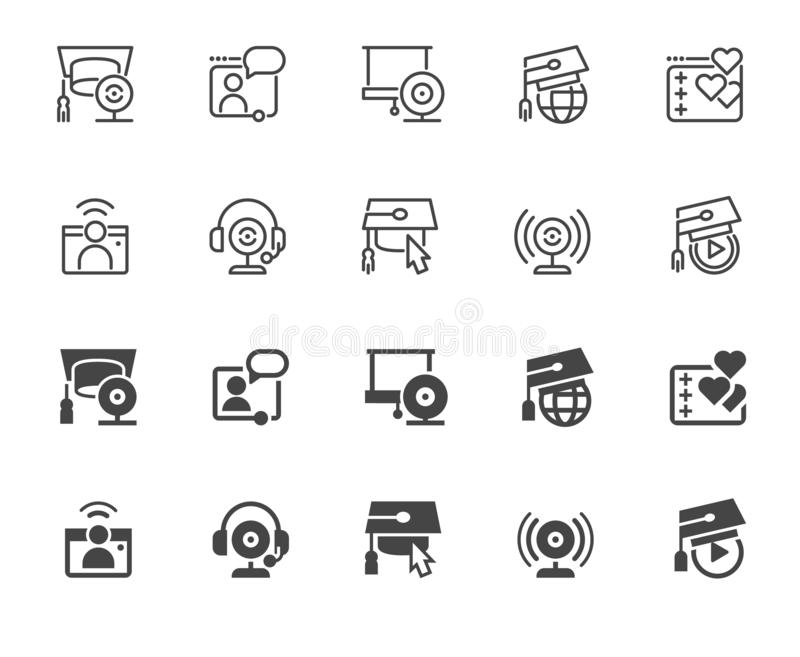 Set of icons in line and glyph designs. Symbol of e-learning, online education and modern technology. Label for universities, schools, academies and other stock illustration