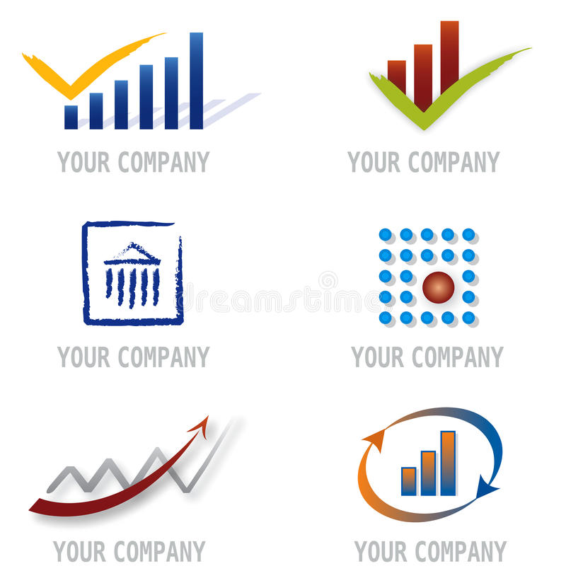 Set of Icons for Logo Design. Finance and Asset Management