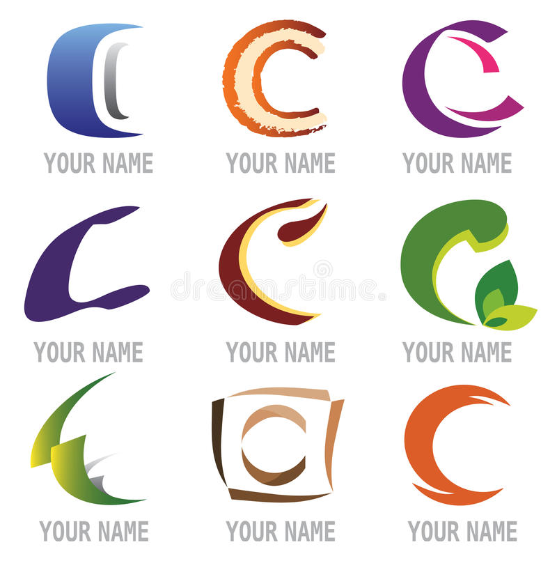Set Of Icons And Logo Elements Letter C Stock Vector