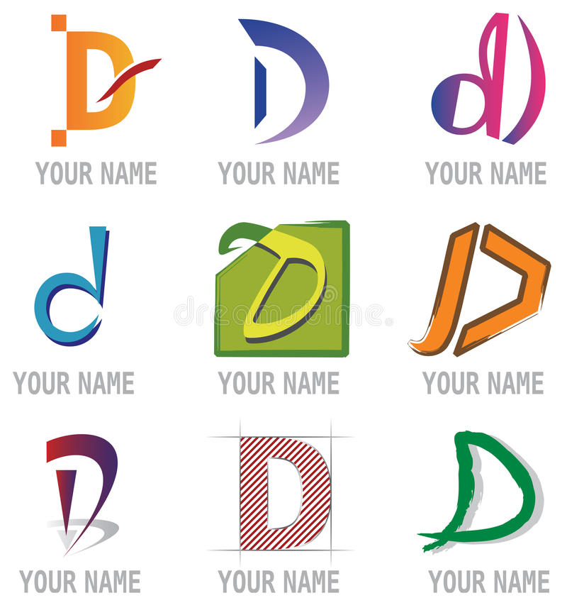 Set of Icons and Logo Elements Letter D royalty free illustration