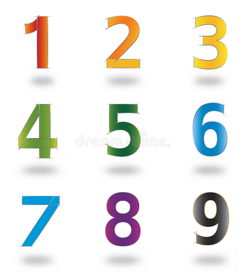 Download Set Of Icons And Logo Elements Numbers Digits 1 To 9 Stock Vector - Image: 18032226