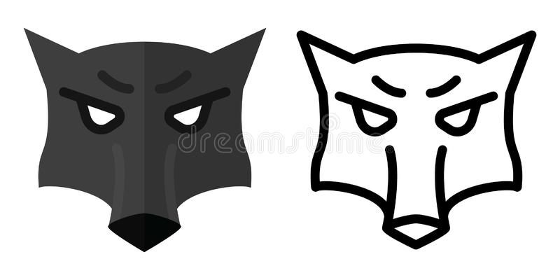Set of icons - logos in linear and flat style The head of a wolf. Vector illustration royalty free illustration
