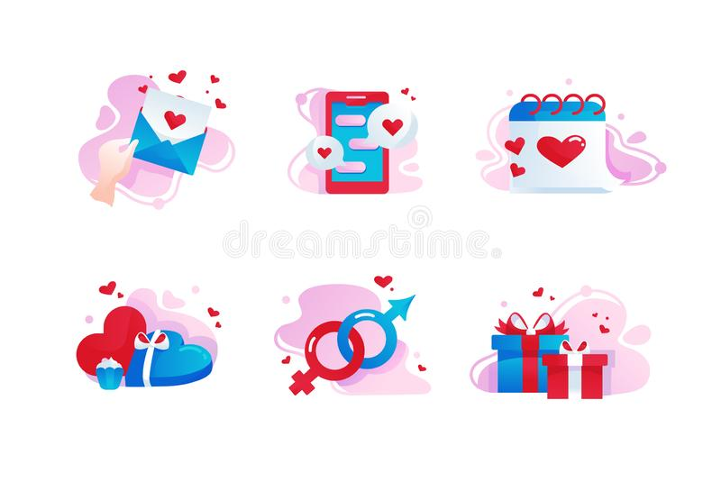 Set icons with love, gift box, message, date, heart. royalty free illustration