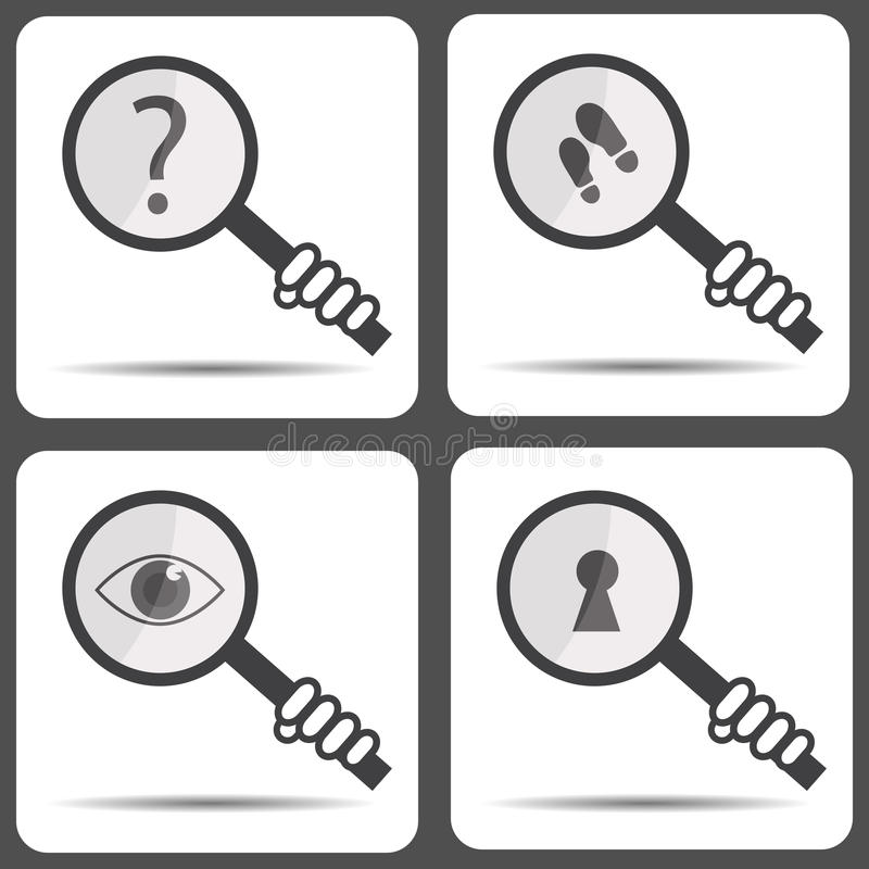 Set icons with a magnifying glass. Detective icon stock illustration