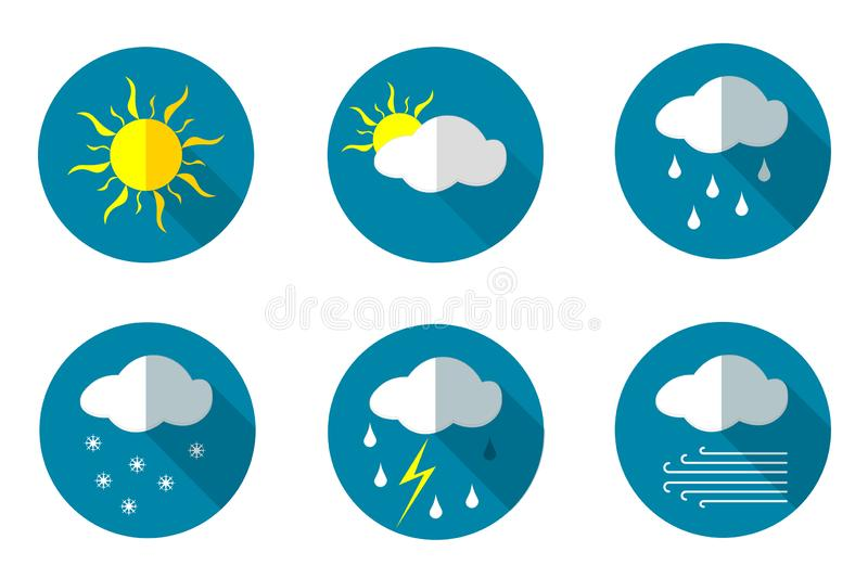 Set of icons with the main types of weather stock illustration