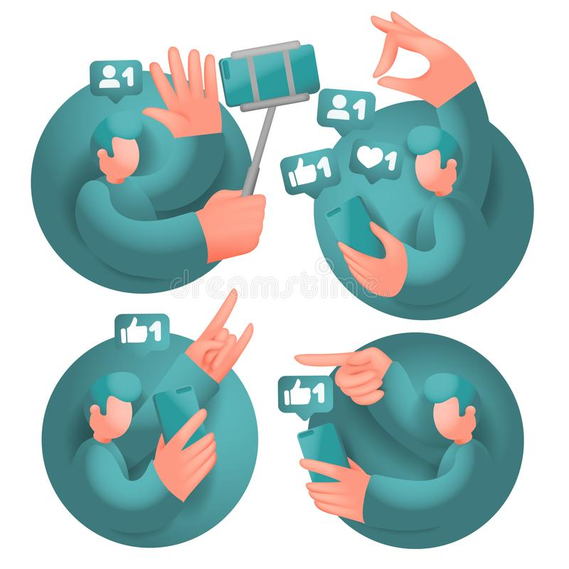 Set of icons with male cartoon 3d characters, having online communication with mobile phones in social network. Vector collection vector illustration