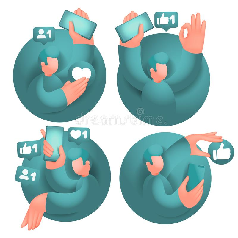 Set of icons with male cartoon 3d characters, having online communication with mobile phones in social network. Vector collection stock illustration