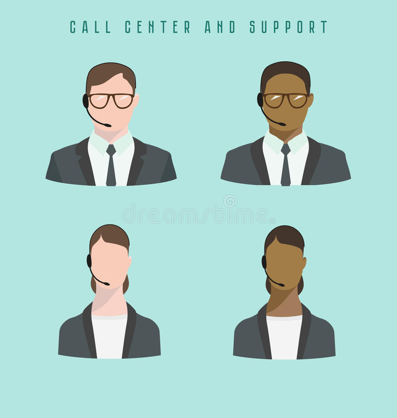 Set of icons Male and female call center avatars with a headset royalty free illustration