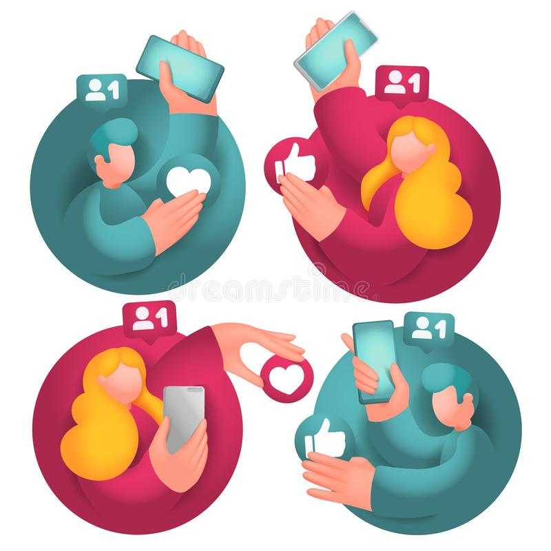 Set of icons with male and female cartoon 3d characters, having online communication with mobile phones in social network. Vector collection stock illustration