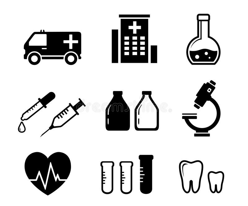 Set icons for medicine industry royalty free illustration