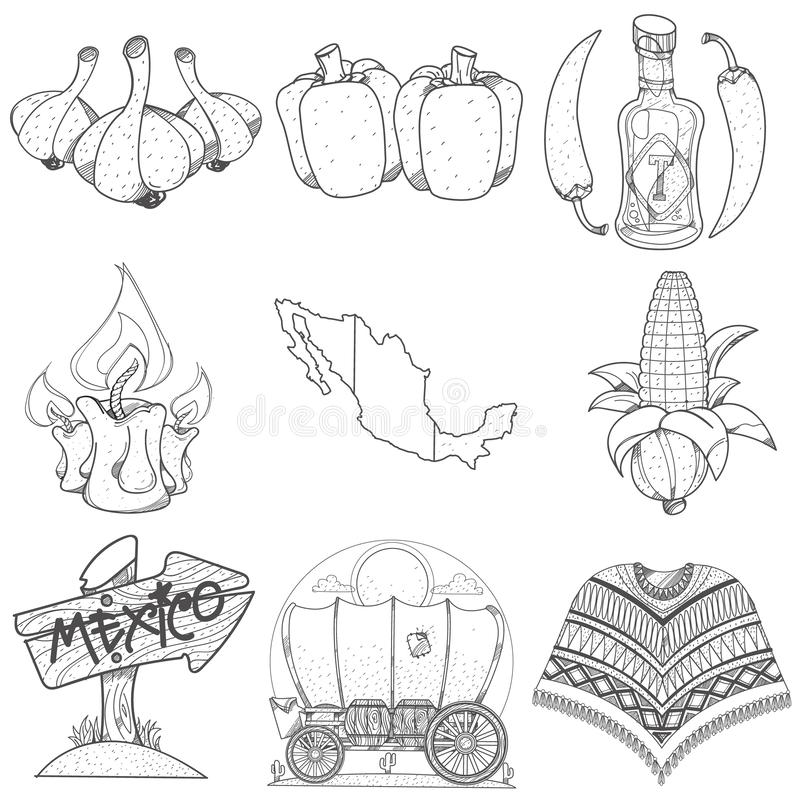 Set of icons on a Mexican theme. Outline picture for coloring stock illustration