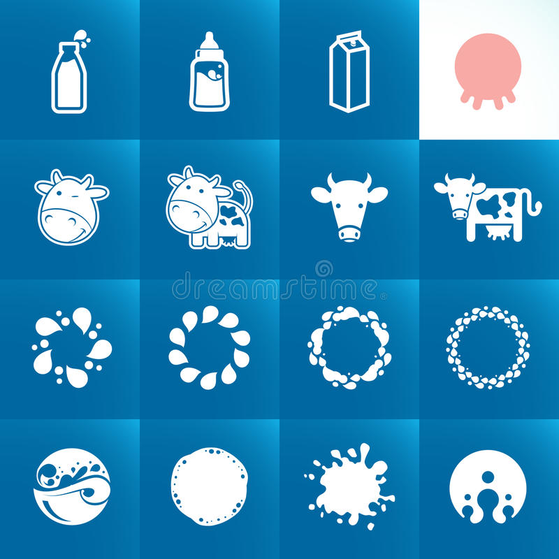 Set of icons for milk vector illustration
