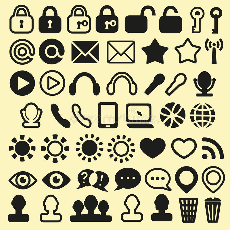 Set of Icons for Mobile, Media and Web. This is file of EPS10 format stock illustration