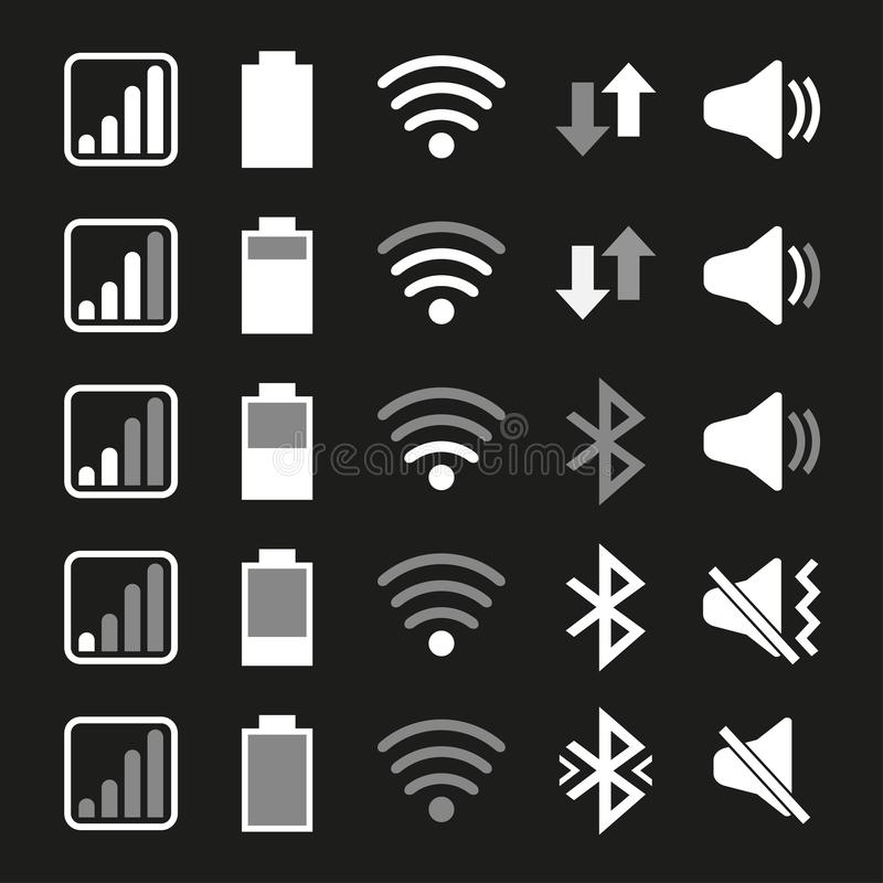 Set of icons for mobile phone system. Vector illustration vector illustration