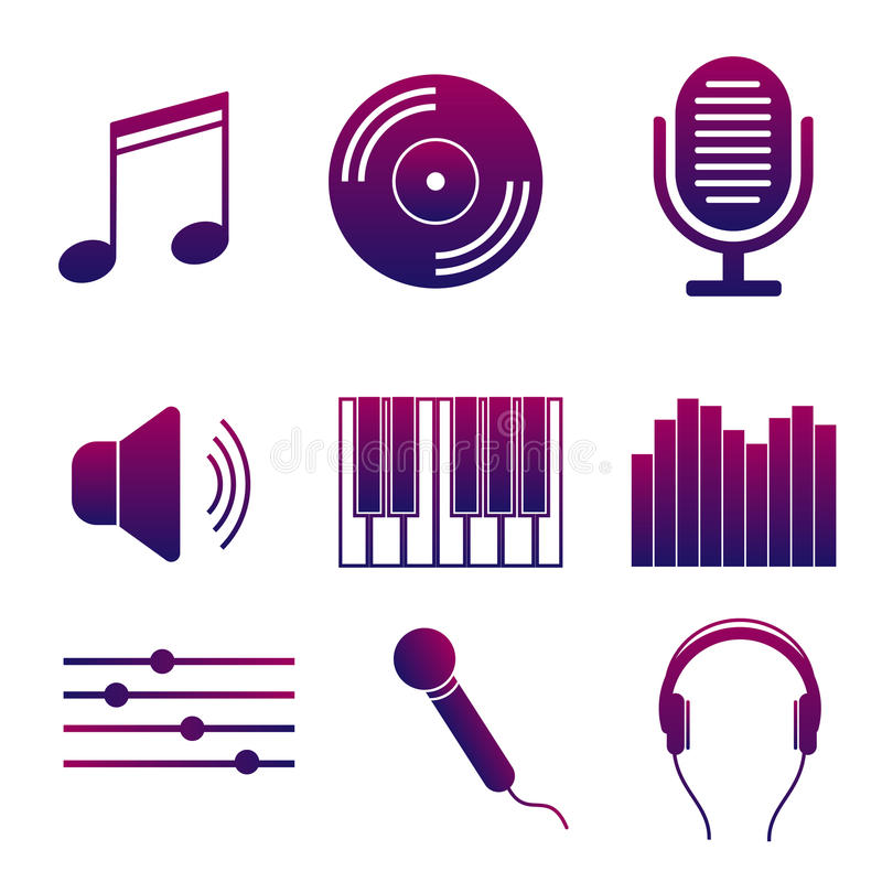 Set of icons of music and songs. Modern collection of bright signs studio sound recording royalty free illustration