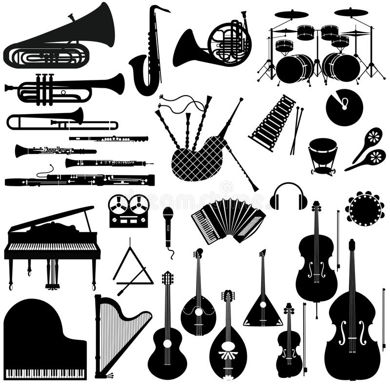 Set icons of musical instruments. vector illustration