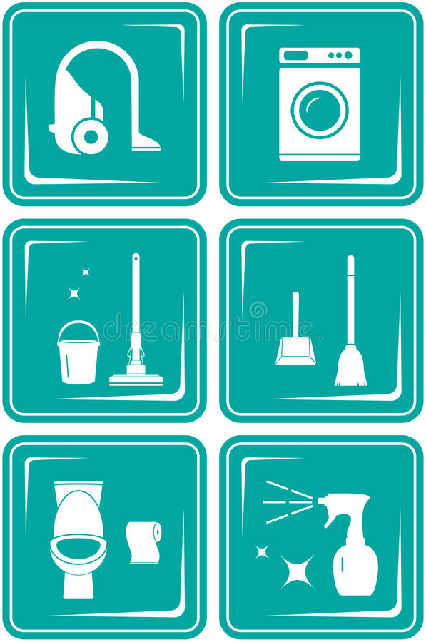 Set icons with objects for cleaning royalty free illustration