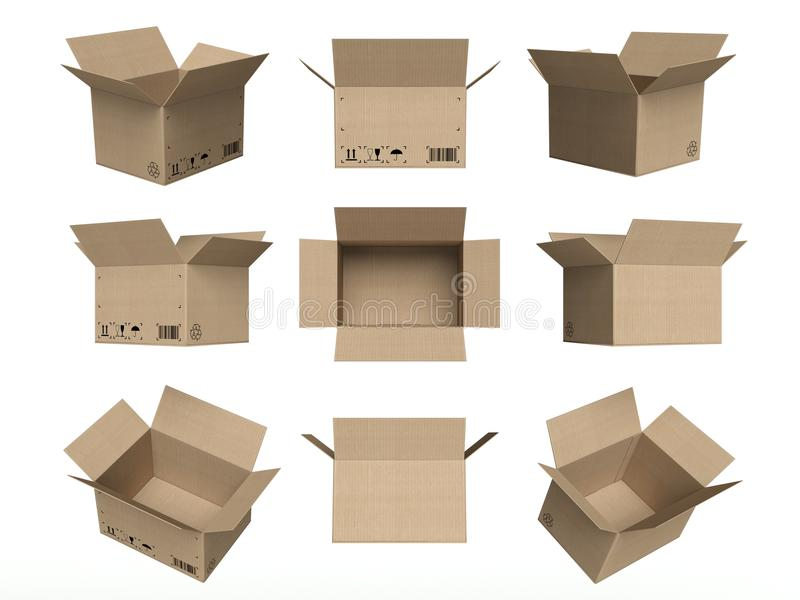 Set of icons, open cardboard boxes isolated white stock illustration