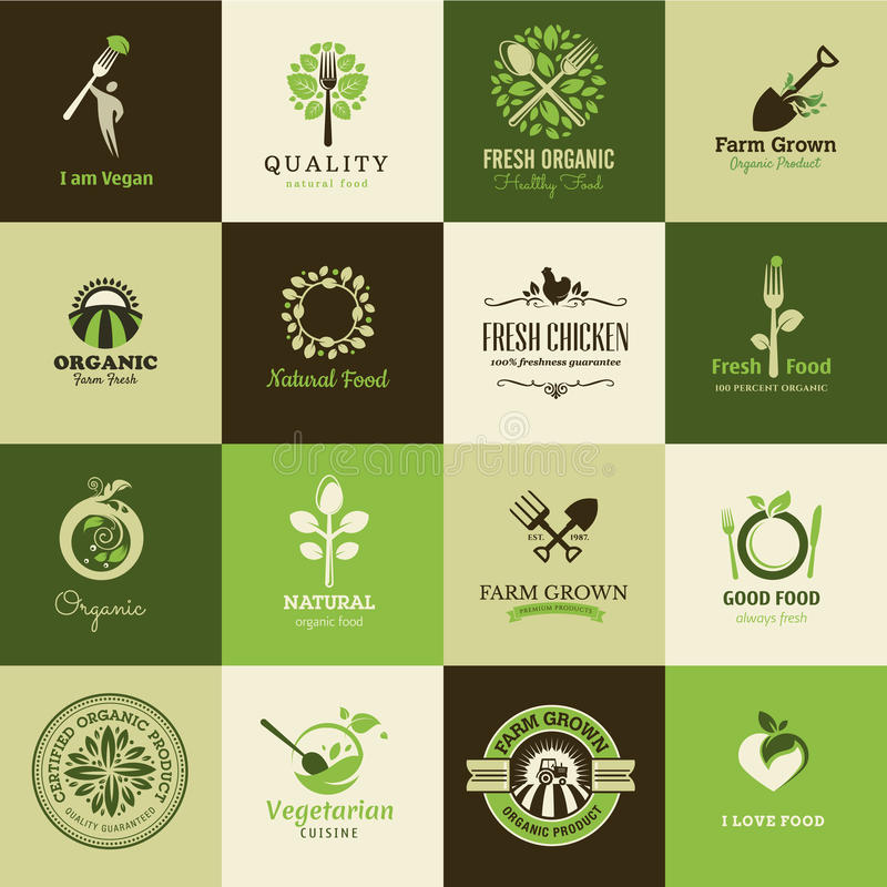 Set of icons for organic food and restaurants vector illustration