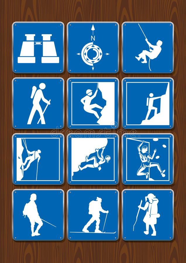 Set of icons of outdoor activities: binoculars, compass, hiking, climbing. Icons in blue color on wooden background vector illustration