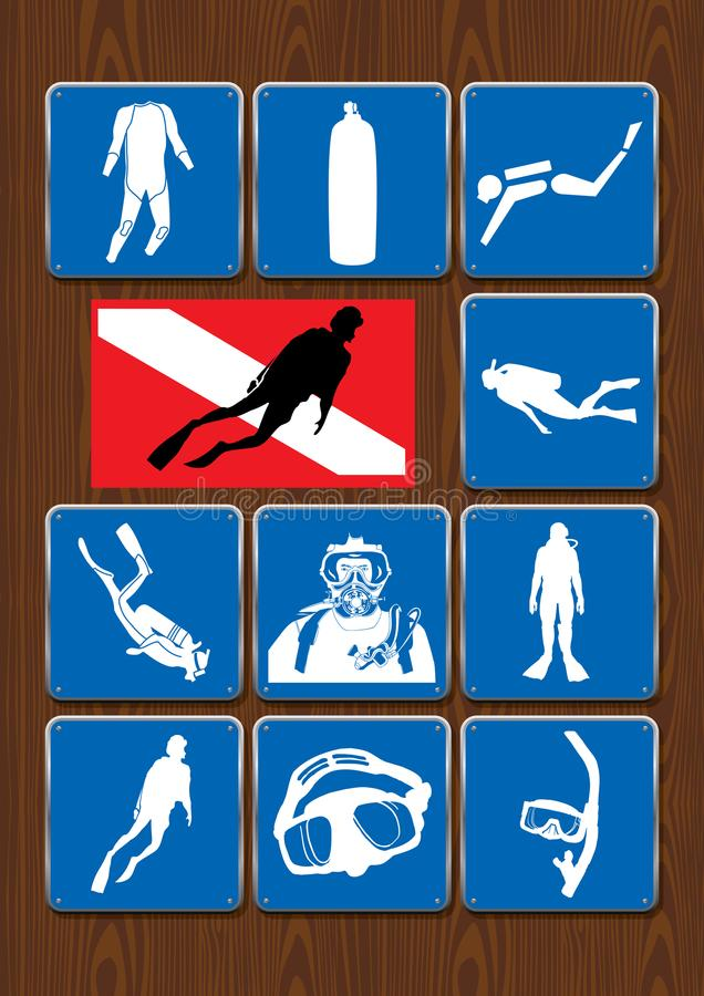 Set of icons of outdoor activities: diver, diving, diving mask, snorkel, tank, diving suit, diving flag. Icons in blue color stock illustration