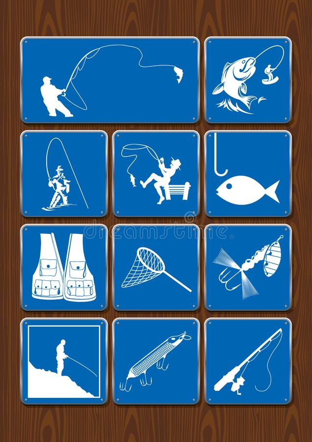 Set of icons of outdoor activities: fishing, fisherman, fish, fishing rod, fishhook, net, vest. Icons in blue color stock illustration