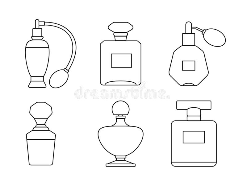 Set of icons for perfume bottles and eau de toilette. royalty free stock photography