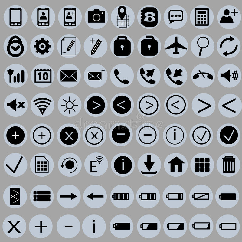 Set of icons for the phone stock photography