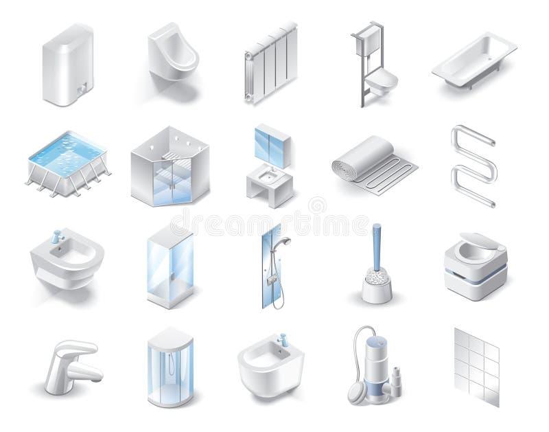 Set of icons of plumbing theme stock photos