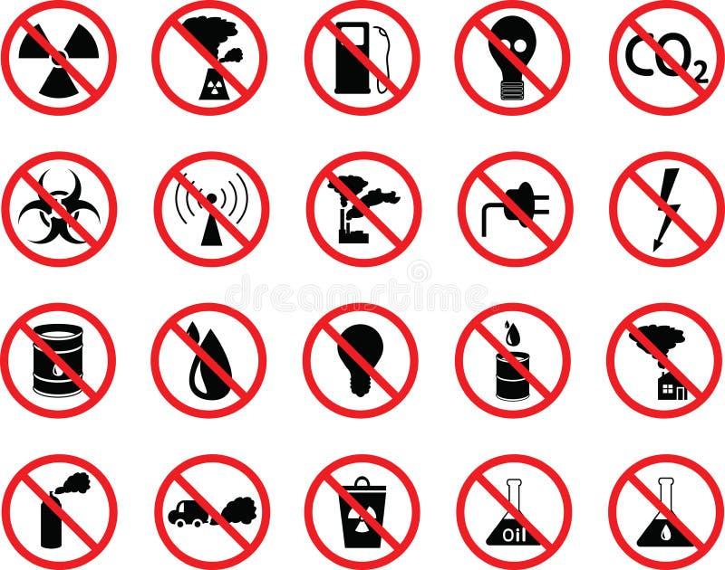 Set of icons: pollution, industrial, hazardous. Set of black icons: pollution, industrial, hazardous royalty free illustration