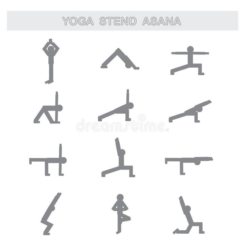 Set of icons. Poses yoga asanas stock illustration