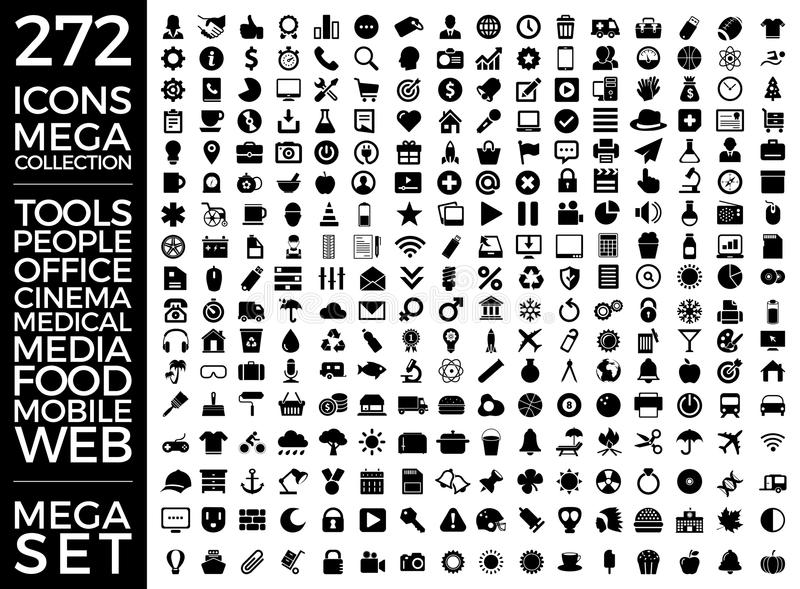 Set Of Icons, Quality Universal Pack, Big Icon Collection Vector Design stock illustration