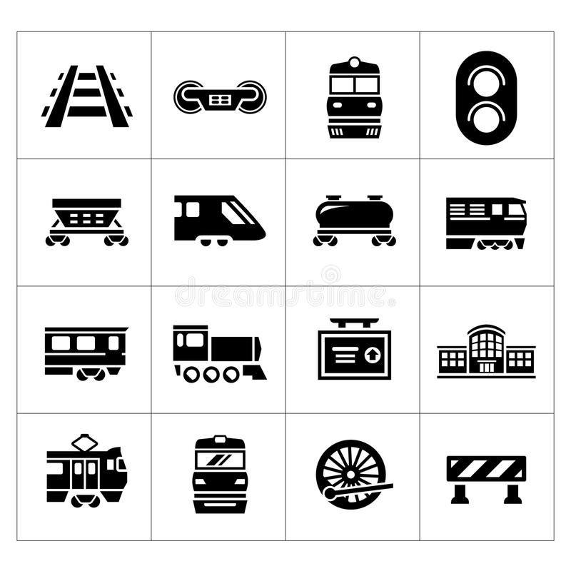 Set icons of railroad and train royalty free illustration