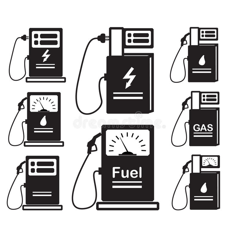 set-of-icons-refueling-car-diesel-gas stock vector