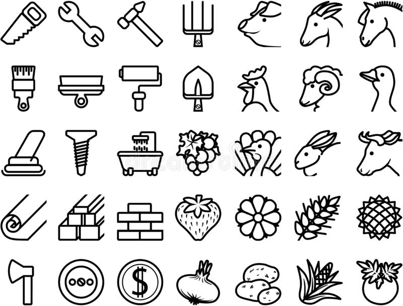 Set icons repair, building materials, farm animals, plants stock illustration