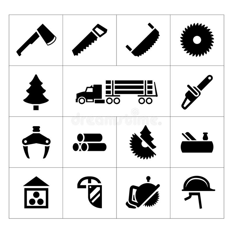 Set icons of sawmill, timber, lumber and woodworking. On white stock illustration