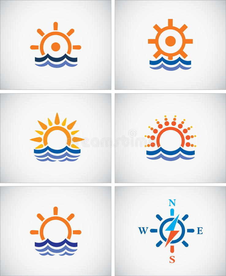 Set icons of sea navigation. royalty free illustration